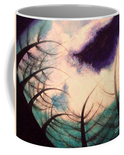 Sky.tree Symphony Coffee Mug featuring the painting Sky And Land Symphony by Kumiko Mayer