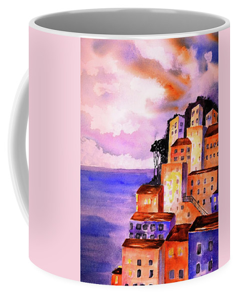 Positano Coffee Mug featuring the painting Sky At Dusk by CarlinArt Watercolor