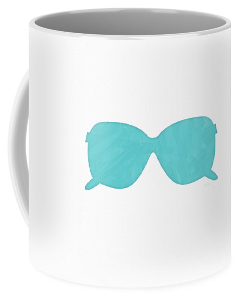 Sunglasses Coffee Mug featuring the painting Sky Blue Sunglasses- Art By Linda Woods by Linda Woods