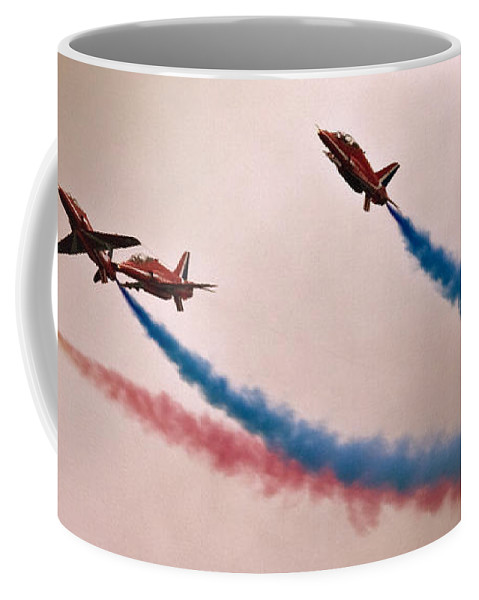 Red Arrows Coffee Mug featuring the photograph Sky Dolphins by Angel Tarantella