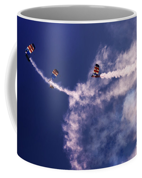Raf Falcons Coffee Mug featuring the photograph Sky Surfers by Angel Tarantella