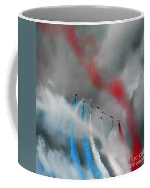 Red Arrows Coffee Mug featuring the photograph Sky Watercolors by Angel Ciesniarska