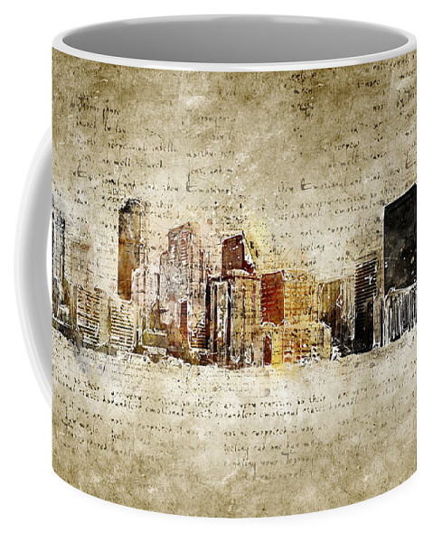 Skyline Coffee Mug featuring the digital art skyline of Denver in modern and abstract vintage-look by Michael Kuelbel