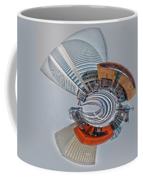 Digital Coffee Mug featuring the photograph skyline of Uptown charlotte mini planet in winter by Alex Grichenko