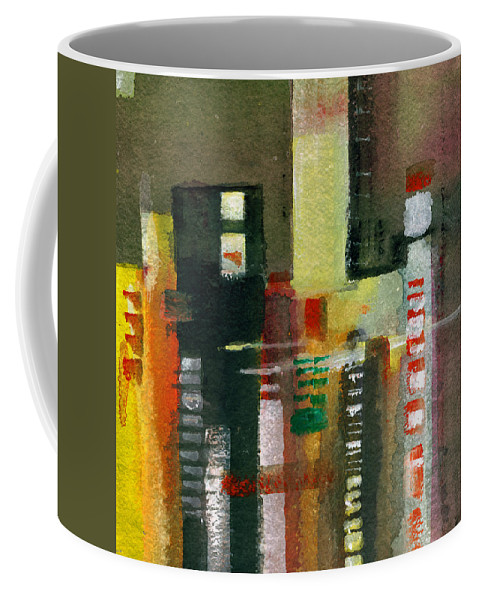 Townscape Coffee Mug featuring the painting Skyscrapers by Anil Nene