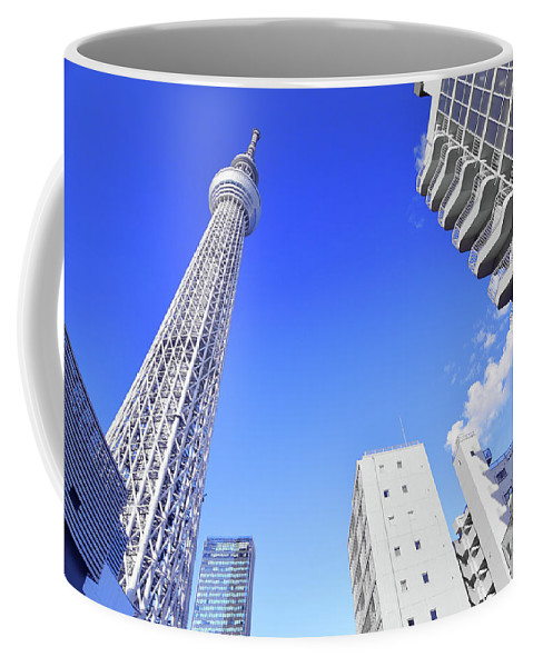 Tokyo Coffee Mug featuring the photograph Skytree In Blue by Mason Del Rosario