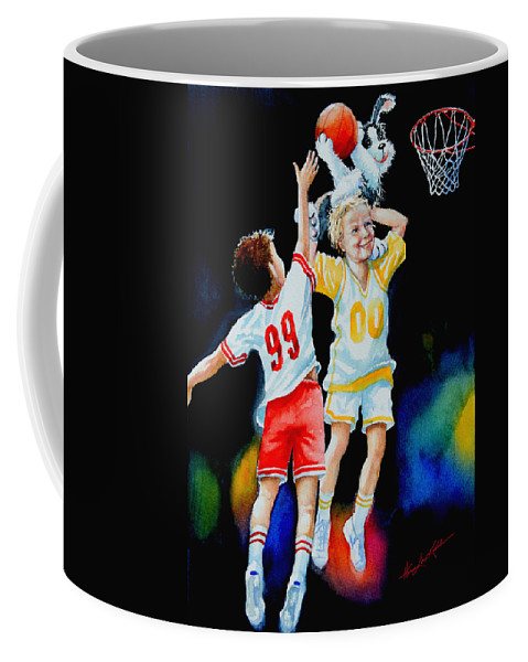 Boys Basketball Coffee Mug featuring the painting Slam Dunkin Dog by Hanne Lore Koehler