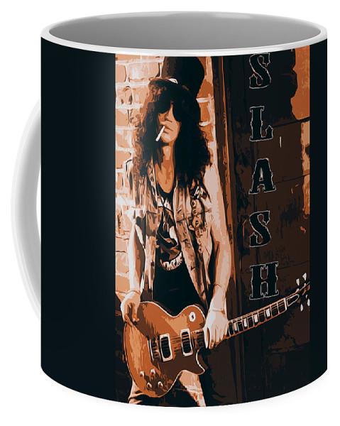 Slash Coffee Mug featuring the painting Slash, Guns'n'roses by Andrea Mazzocchetti