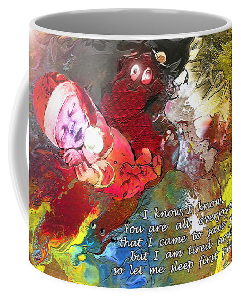 Messiah Painting Coffee Mug featuring the painting Sleepig Messiah by Miki De Goodaboom
