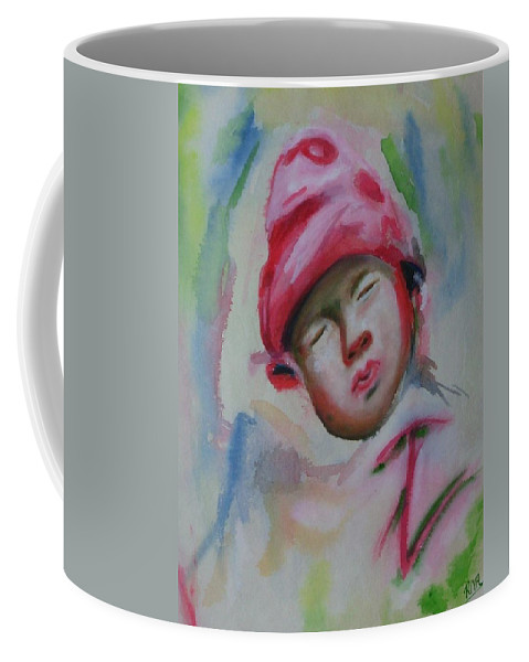 Watercolor Painting Coffee Mug featuring the painting Sleeping Baby by Riya Rathore