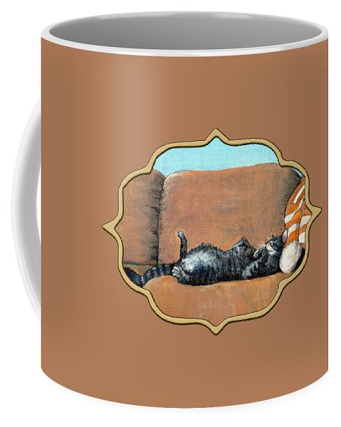 Calm Coffee Mug featuring the painting Sleeping Cat by Anastasiya Malakhova