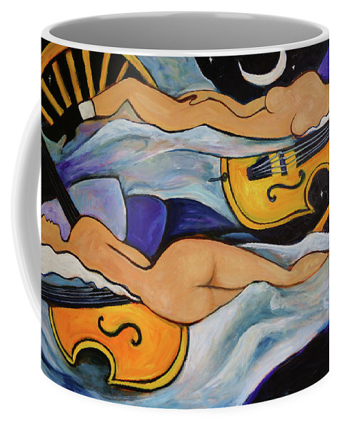 Musicians Coffee Mug featuring the painting Sleeping Cellists by Valerie Vescovi