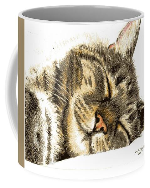 Sleeping Tabby Cat Products Coffee Mug featuring the drawing Sleeping Tabby Cat by Mary-Anne Harding