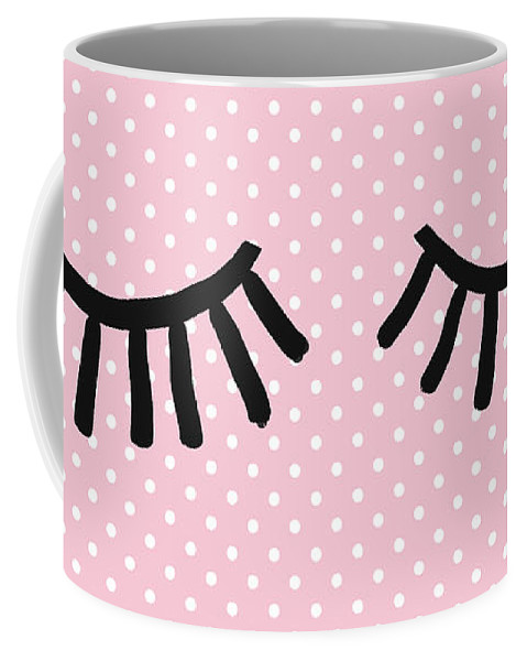 Eyelashes Coffee Mug featuring the mixed media Sleepy Eyes and Polka Dots- Art by Linda Woods by Linda Woods