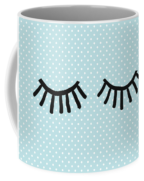Eyes Coffee Mug featuring the mixed media Sleepy Eyes and Polka Dots Blue- Art by Linda Woods by Linda Woods