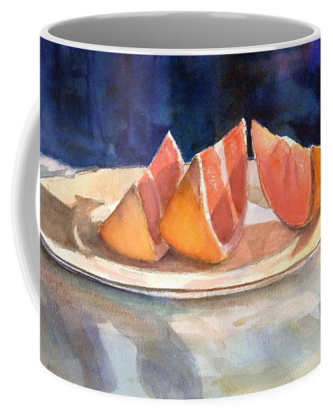 Slices Coffee Mug featuring the painting Slices by Mohamed Hirji