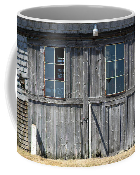 Barn Coffee Mug featuring the photograph Sliding Barn Doors With Windows by William Tasker