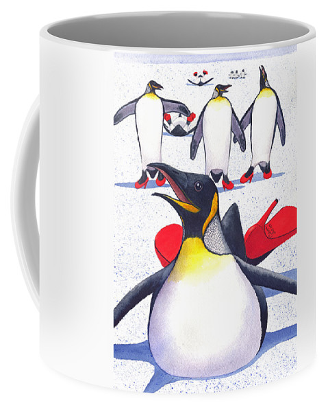 Penguin Coffee Mug featuring the painting Sliding In Style by Catherine G McElroy