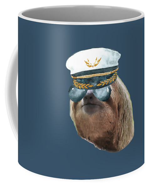 Sloth Coffee Mug featuring the digital art Sloth Aviator Glasses Captain Hat Sloths In Clothes by Trisha Vroom