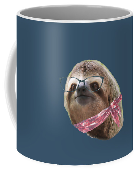 Sloth Coffee Mug featuring the digital art Sloth Black Glasses Red Scarf Sloths In Clothes by Trisha Vroom