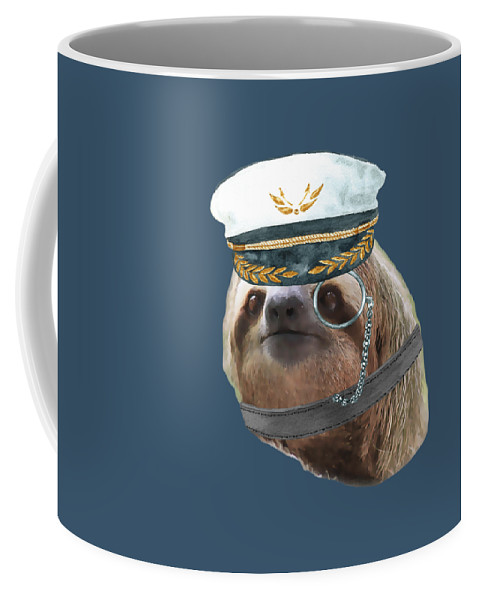 Sloth Coffee Mug featuring the digital art Sloth Monacle Captain Hat Sloths In Clothes by Trisha Vroom
