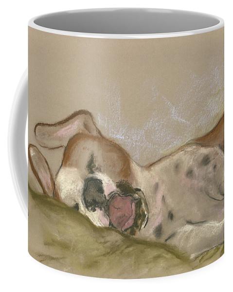 Dog Coffee Mug featuring the drawing Slumbering Grace by Cori Solomon