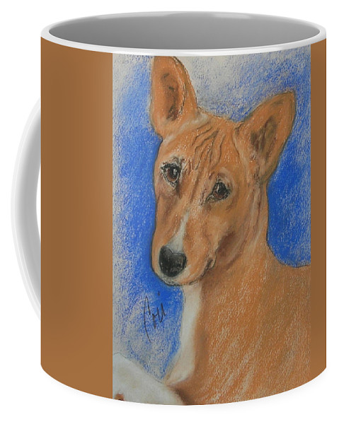 Dog Coffee Mug featuring the drawing Small And Mighty by Cori Solomon