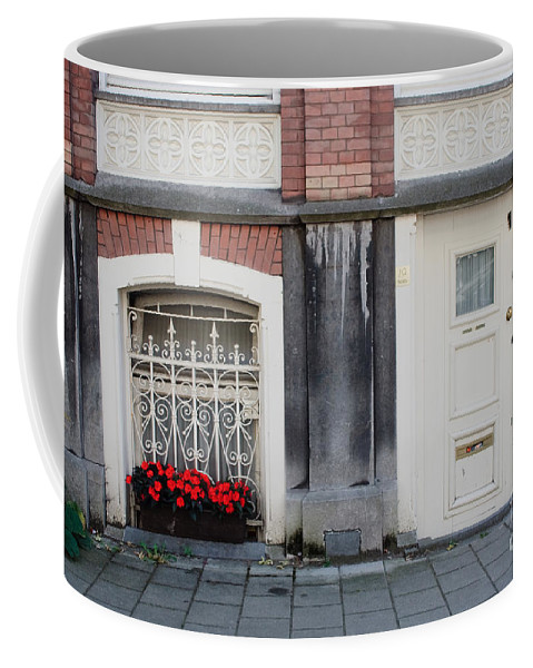 Flower Coffee Mug featuring the photograph Small Door And Flower Box Amsterdam by Thomas Marchessault
