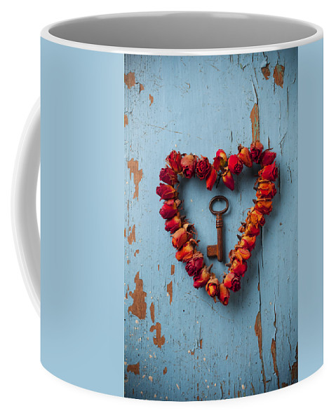 Love Rose Heart Wreath Key Coffee Mug featuring the photograph Small Rose Heart Wreath With Key by Garry Gay