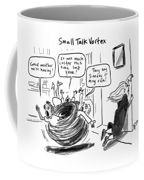 Small Talk Vortex Coffee Mug featuring the drawing Small Talk Vortex by Sofia Warren