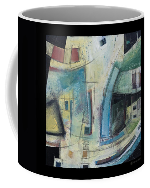 Abstract Coffee Mug featuring the painting Small Town Blues by Tim Nyberg