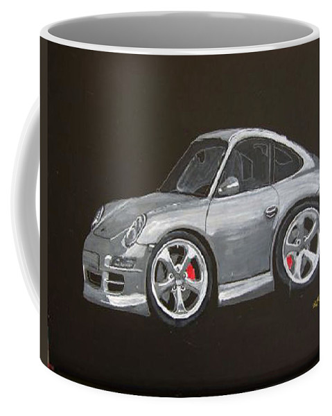 Car Coffee Mug featuring the painting Smart Porsche by Richard Le Page