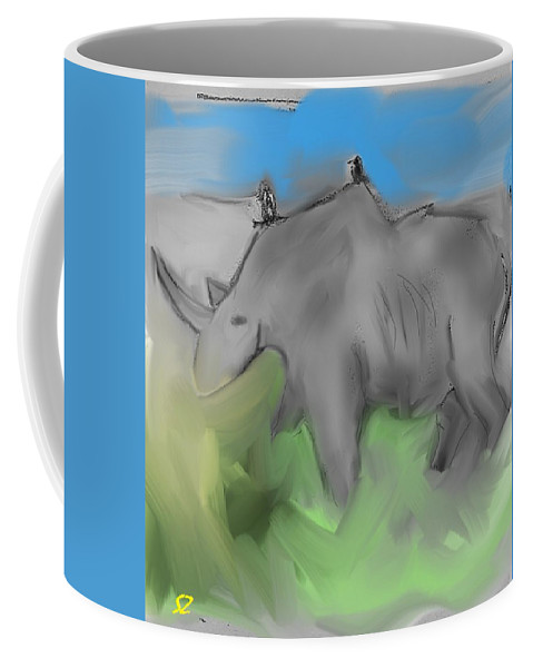 Rhino Coffee Mug featuring the mixed media Smear by Samuel Zylstra