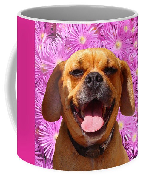 Animal Coffee Mug featuring the painting Smiling Pug by Amy Vangsgard