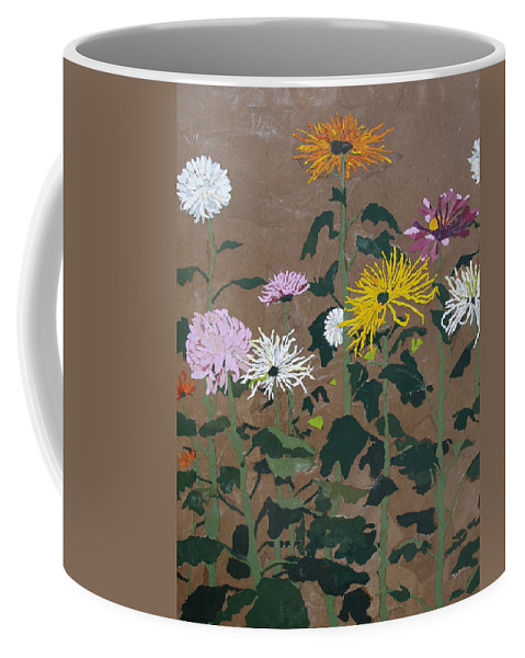 Collage Coffee Mug featuring the painting Smith's Giant Chrysanthemums by Leah Tomaino