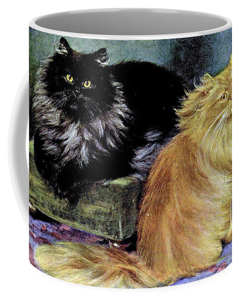 Cats Coffee Mug featuring the painting Smoke And Orange Persians by W Luker Junior