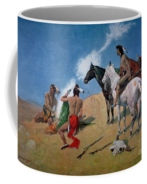 Smoke Signals (oil On Canvas) By Frederic Remington (1861-1909) Remington Coffee Mug featuring the painting Smoke Signals by Frederic Remington