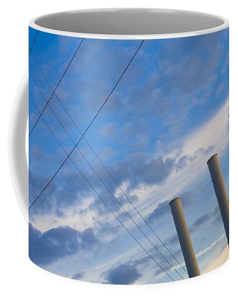 Blue Coffee Mug featuring the photograph Smoke Stax by Skip Hunt