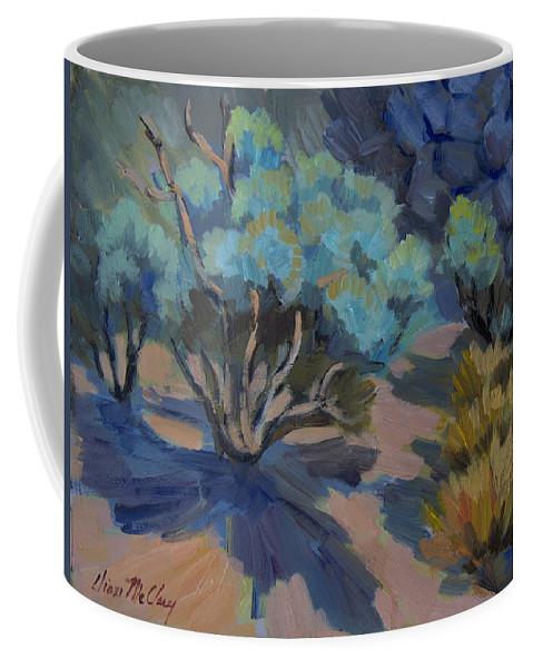 Smoke Tree Coffee Mug featuring the painting Smoke Tree In La Quinta Cove by Diane McClary