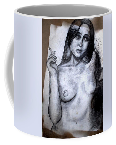 Nude Coffee Mug featuring the drawing Smoker by Thomas Valentine