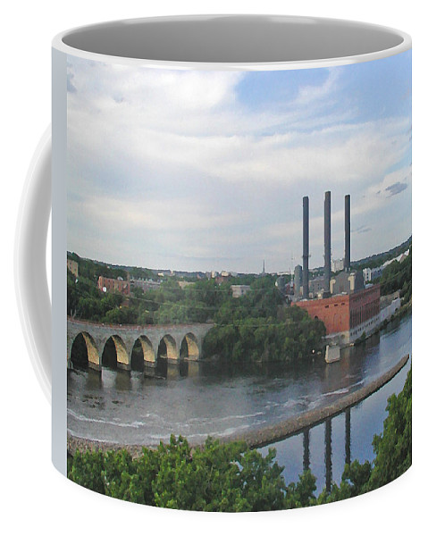 Minneapolis Coffee Mug featuring the photograph Smokestacks On The Mississippi by Tom Reynen