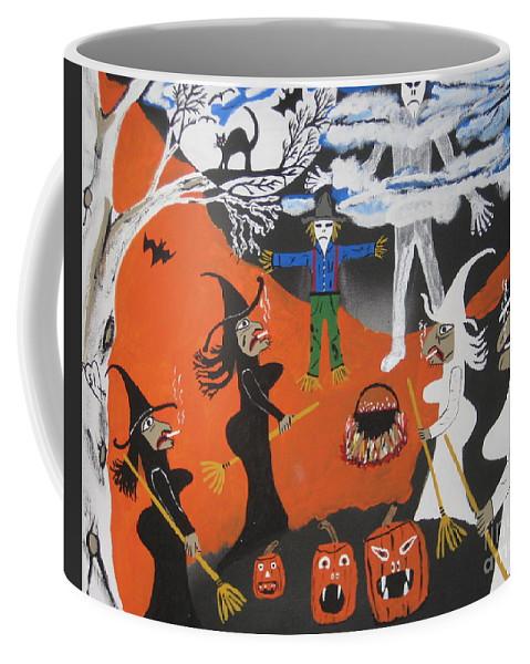 Halloween Coffee Mug featuring the painting Smokey Halloween by Jeffrey Koss