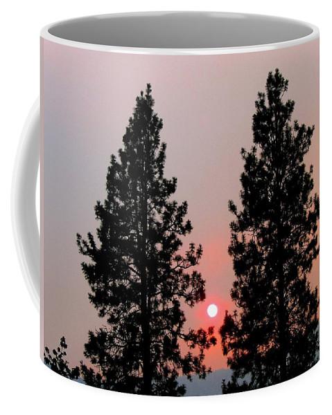 Smoke Coffee Mug featuring the photograph Smokey Okanagan Sunset by Will Borden
