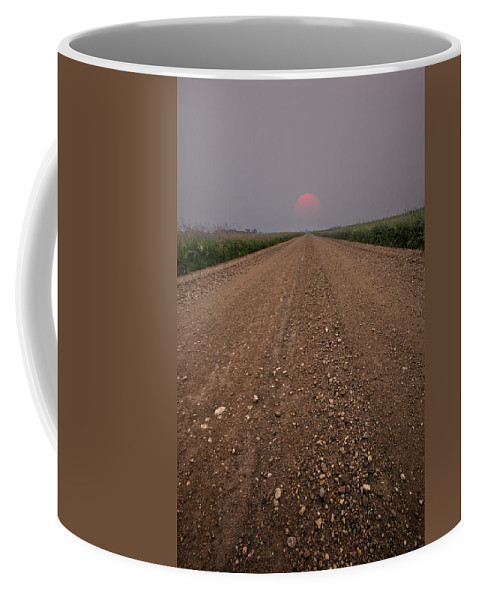Sunset Coffee Mug featuring the photograph Smokey Road To Nowhere by Aaron J Groen