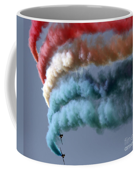Red Arrows Coffee Mug featuring the photograph Smoking by Angel Ciesniarska