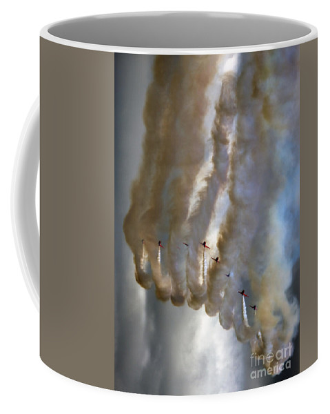 Red Arrows Coffee Mug featuring the photograph Smoking Nine by Angel Ciesniarska