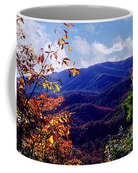 Mountain Coffee Mug featuring the photograph Smoky Mountain Autumn View by Nancy Mueller