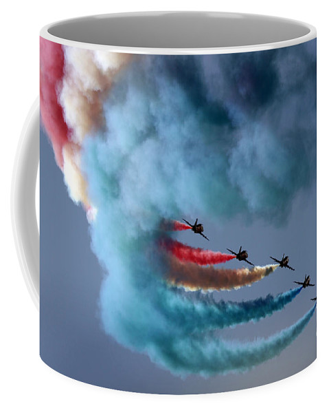 Airshow Coffee Mug featuring the photograph Smoky Rainbow by Angel Ciesniarska