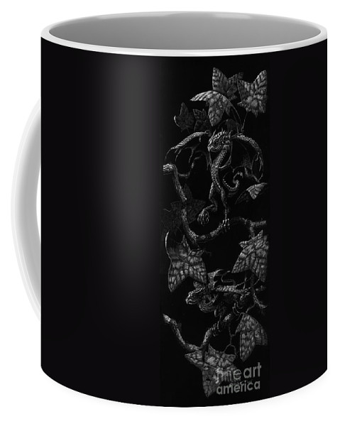 Dragon Coffee Mug featuring the drawing Snap Dragons by Stanley Morrison