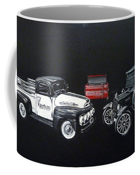 Trucks Coffee Mug featuring the painting Snap-on Ford Trucks by Richard Le Page